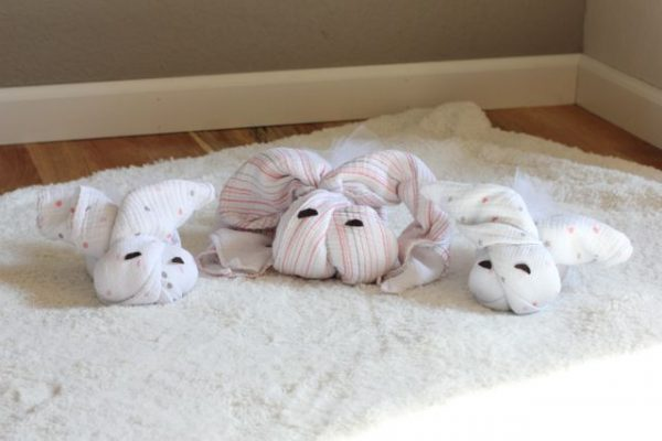 Turn 4 Swaddling Blankets Into A Family of Bunnies