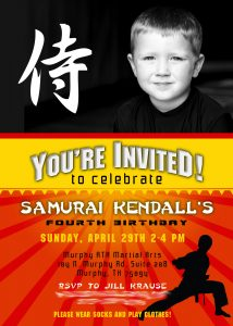 Kendall Samurai Party Invitation
