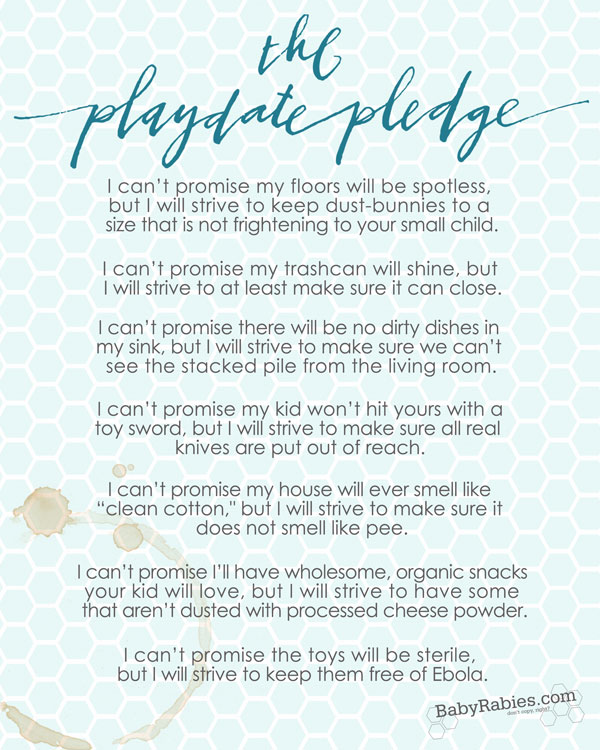 The Playdate Pledge- Free Printable!