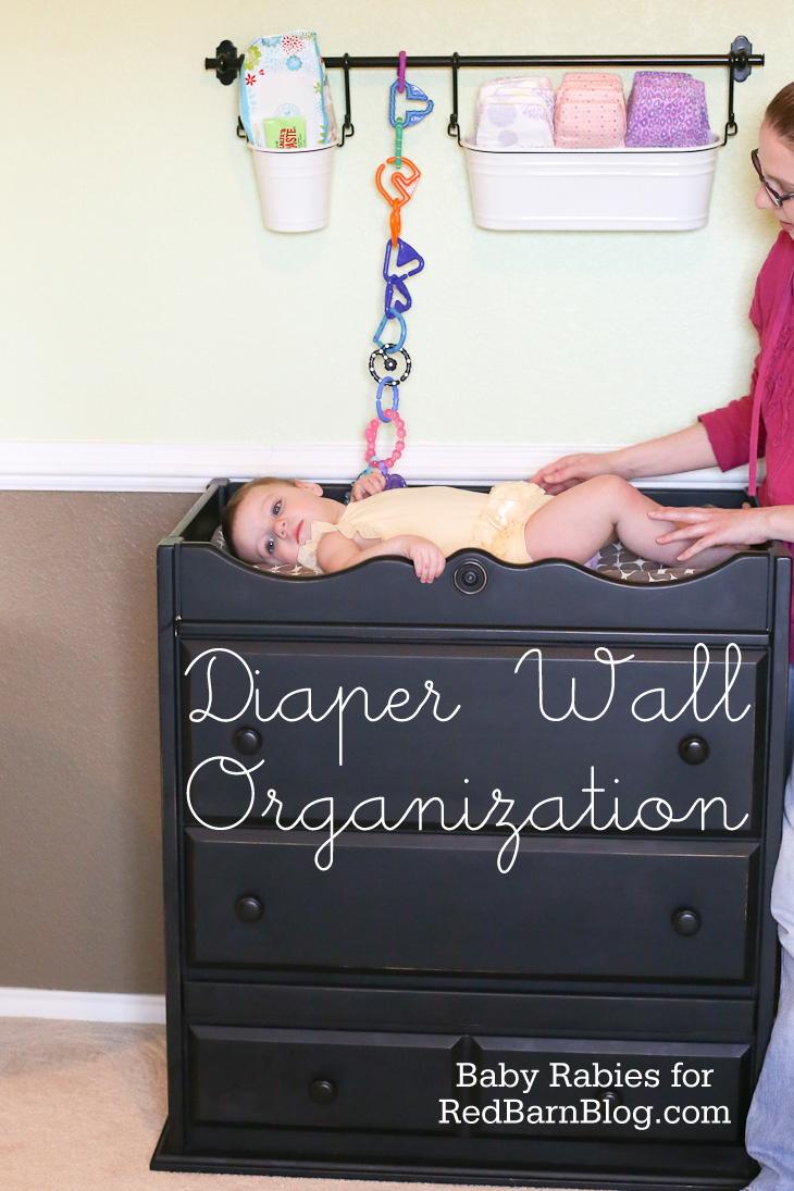 Diaper wall organization a red barn blog tutorial for Meuble a langer ikea