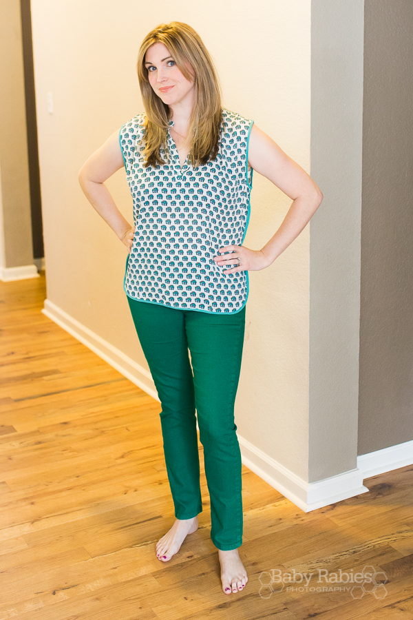 Stitch Fix- Fun2Fun- Erika Elephant Print Sleeveless Henley Blouse- $28