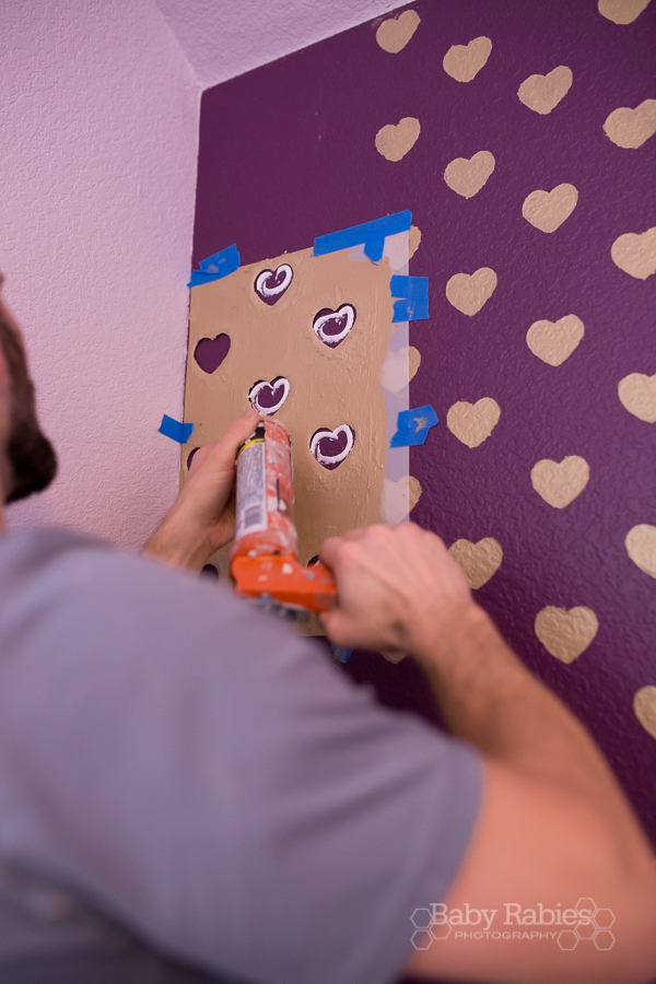 How to get crisp stencil lines on a textured wall! Heart Wall tutorial from BabyRabies.com