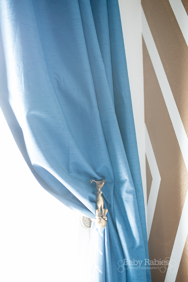 Blue and gold, dog themed nursery with gold arrow wall   BabyRabies.com - Tieback is from Anthropologie