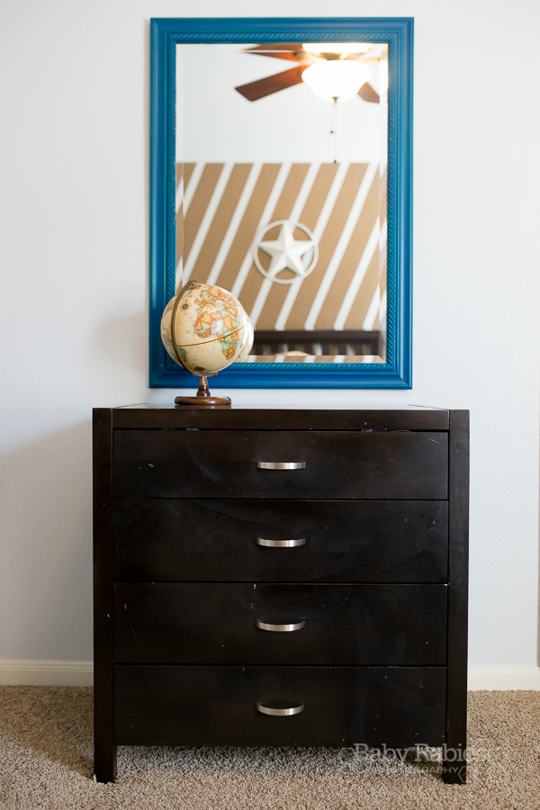 Blue and gold, dog themed nursery with gold arrow wall   BabyRabies.com