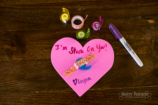 """I'm Stuck On You"" DIY, no candy Valentine- mini-washi tapes- perfect for preschoolers! 