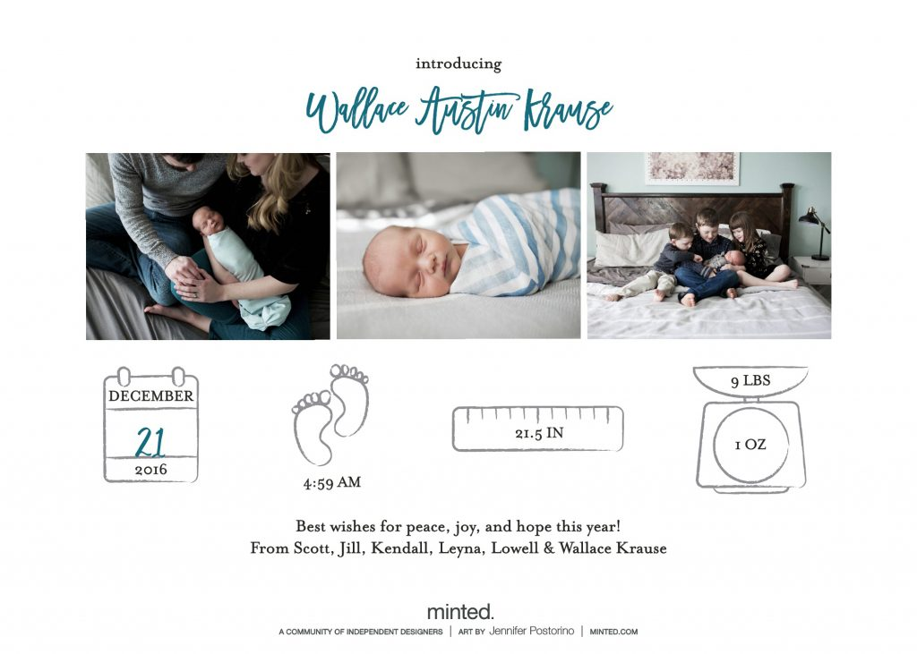 Minted birth announcement backer for holiday card | BabyRabies.com