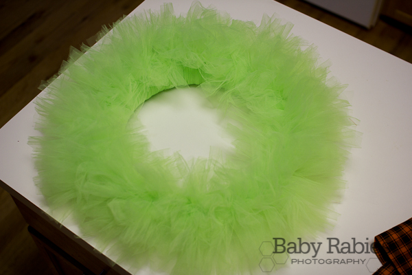 image of tulle added to the styrofoam wreath