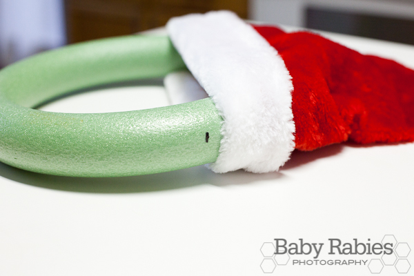 image of wreath foam ring with Santa hat