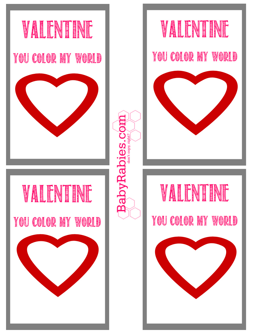 photo relating to You Color My World Printable named On your own Colour My Earth Valentines- Guide Free of charge Printable