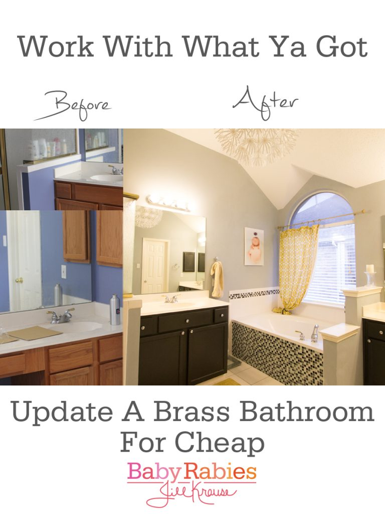 Update A Brass Bathroom On A Budget - BabyRabies.com: Arctic Frost by Olympic paint, Ikea Maskros pendant, DIY mosaic tile update to soaking tub, painted oak cabinets, added chrome fixtures, yellow and gold accents throughout