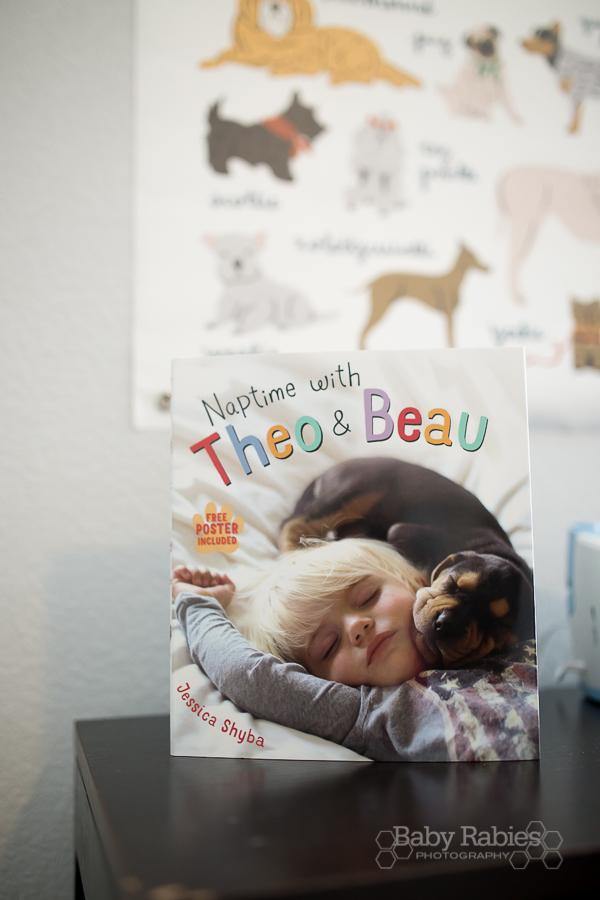 Blue and gold, dog themed nursery with gold arrow wall | BabyRabies.com - Naptime With Theo & Beau book review
