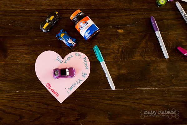 """You Make My Heart Go Vroom"" DIY no candy Valentines- Hot Wheels- Use rubber cement to adhere them to foam- super easy to peel off 
