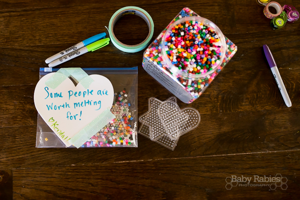 """Some People Are Worth Melting For"" Perler Bead DIY no candy Valentines 