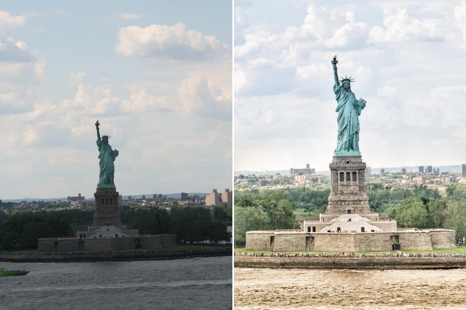 unedited and edited image of the Statue of Liberty taken by Becci L.