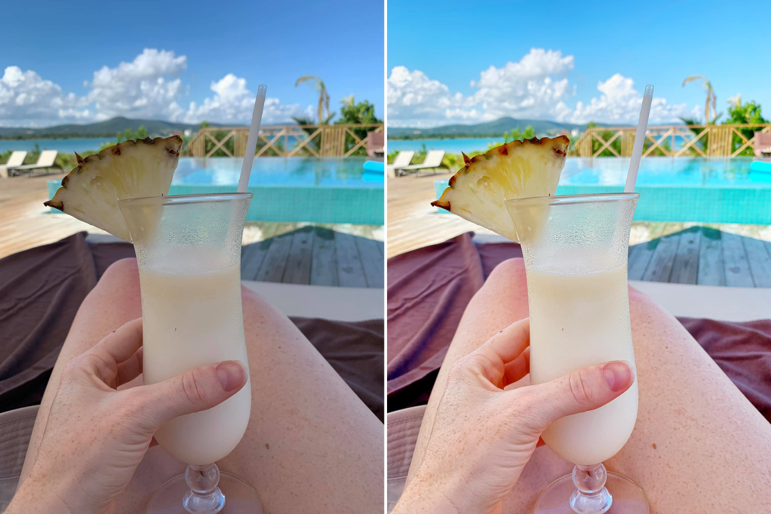 unedited and edited image of a Piña colada taken by Krystyn